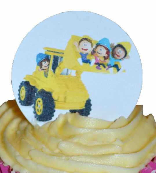 Children's digger cake topper